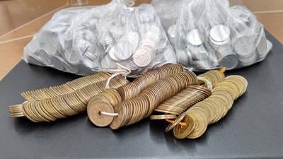 寄付された硬貨.JPG